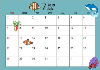 19年7月カレンダー 海 7月 カレンダー カレンダー 無料 イラスト 素材