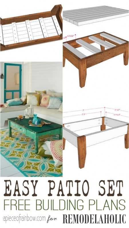 How to build an easy DIY patio set -- one bench or two, plus a coffee table makes for perfectly cozy outdoor space!