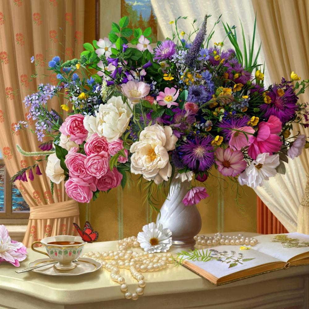 Обои цветы, чай, натюрморт. Разное