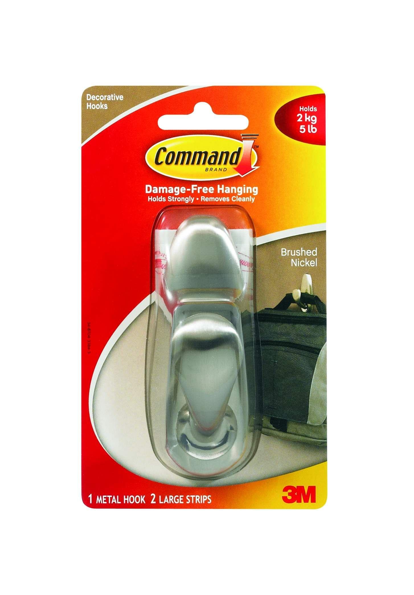 Command Brushed Nickel Large Metal Hook Metal Hooks Command