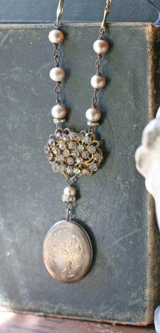 Cool Necklace: Love the old book with vintage looking necklace......