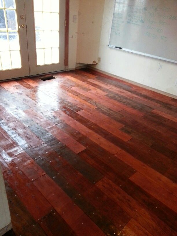 Our new plywood hardwood floors stained in a mix of for Hardwood floors jacobean