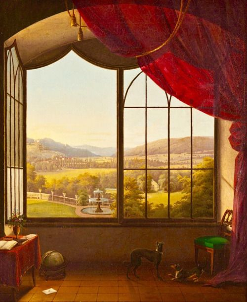Ferdinand Schaeck A View From A Window At Castle Callenberg Historical Painting Windows Views
