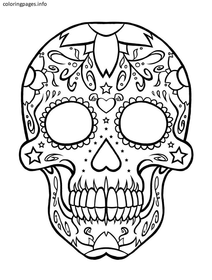 Simple Sugar Skull Coloring Pages Skull Coloring Pages Sugar Skull Tattoos Coloring Pages