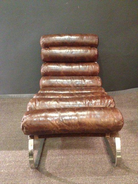 Chaise Longue Design VINTAGE En Cuir Marron | fauteuil | Pinterest on chaise en bois, chaise lounge, chaise en transparent, chaise longue,