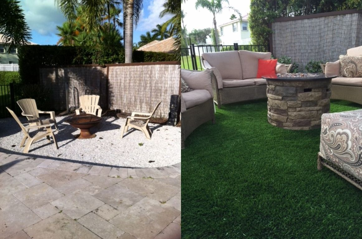 Back Yard Makeover Fire Pit With Artificial Turf Outdoor Decor Backyard Patio