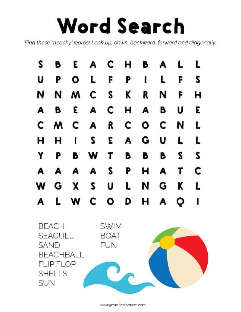 Summer Word Search Puzzles For Kids 5 Minutes For Mom Word Puzzles For Kids Summer Words Printable Puzzles For Kids [ 1035 x 800 Pixel ]