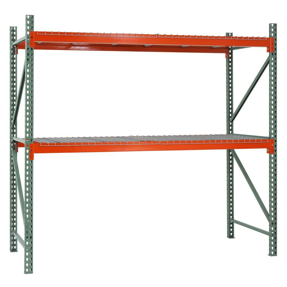 Edsal 120 In H X 108 In W X 42 In D 2 Shelf Steel Pallet Rack Shelving Starter Kit In Green Orange Pr10842120 Pallet Rack Pallet Diy Diy Pallet Projects