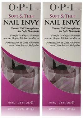 OPI Nail Envy (SOFT & THIN) (0.5 oz/15 mL.) Full Size Bottles (Qty, Of 2 Bottles) by OPI. $17.99. Proven Nail Envy performance with fortifying Calcium and sea minerals! OPI' s exclusive Tensile Strength Technology increases nail keratin cross -linking with Hydrolyzed Wheat Protein. Fortifies soft, thin nails with Calcium and sea minerals for longer, stronger, break - resistant natural nails The Soft and Thin Nail Envy OPI Nail Treatment is part of the OPI Nail Envy. The Soft...