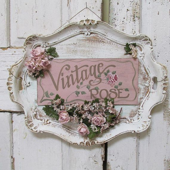 Vintage Shabby Chic Home Decor: Serving Tray Wall Hanging Shabby Cottage Chic Painted