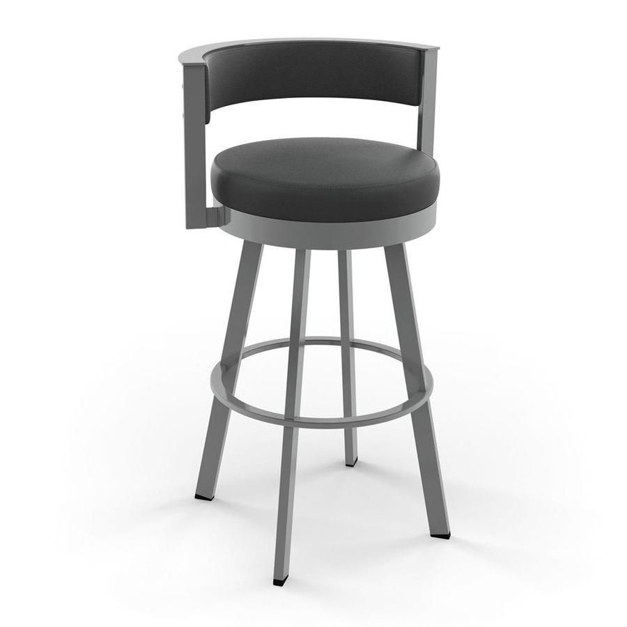 Amisco Browser Glossy Grey Counter Upholstered Swivel Bar Stool In
