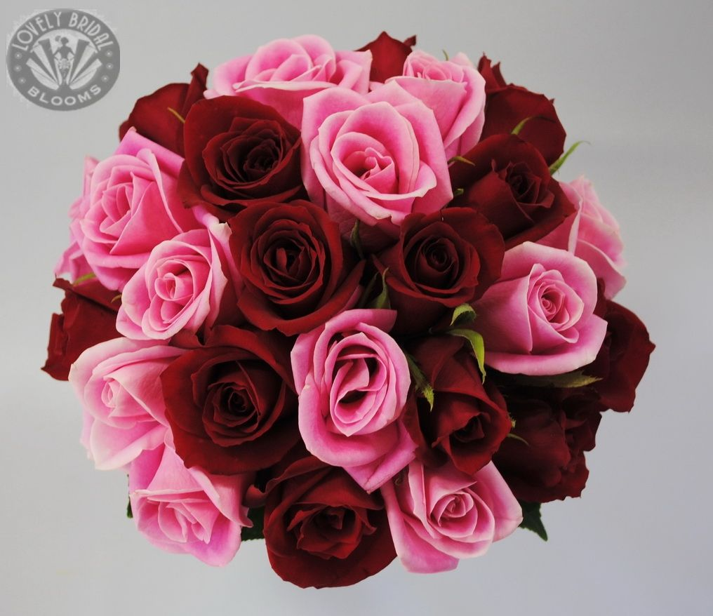 Dark red and candy pink rose bouquet | Ravishing Red ...