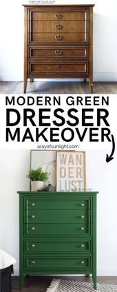 The Green Painted Modern Dresser #Design #Modell #Kleid #Schuhe #Räder #Stile