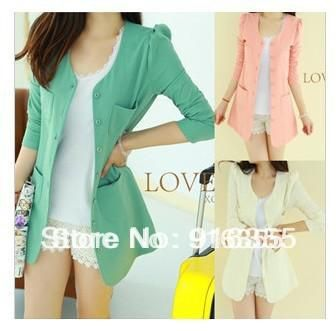 Free shipping 2014 womens jackets and coats tunics buttons candy color girls business suits large collars women's blazer