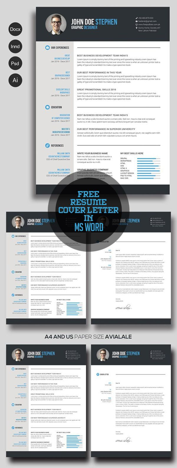 Free Resume & Cover Letter in Ms Word | Me Likey! | Pinterest ...