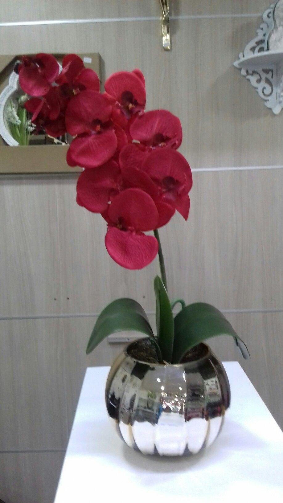 Vaso Aquario Dourado Com Orquideas Artificial Vermelha Com