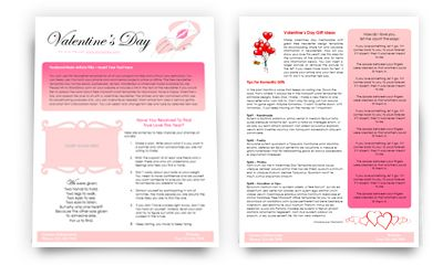 Valentines Newsletter Template  Elt English Language Teaching