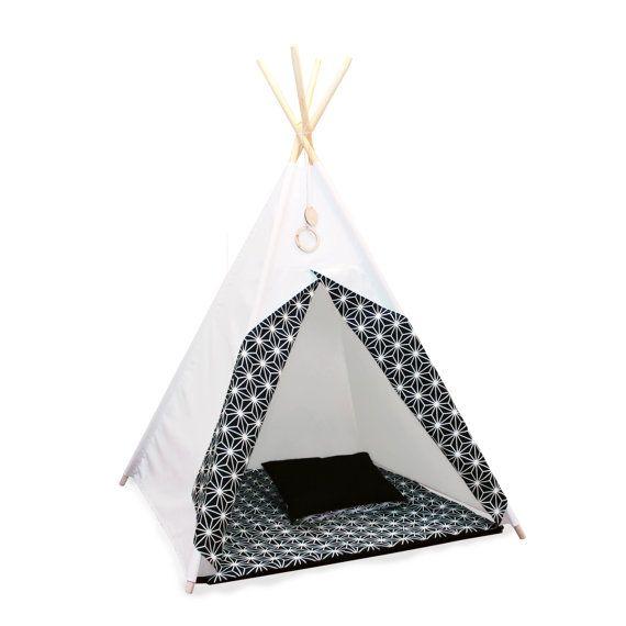 tipi schwarz wei teepee set tipi kinder tipi playtent zelt indianerzelt tipi zelt. Black Bedroom Furniture Sets. Home Design Ideas