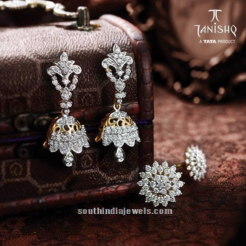 Diamond Jhumka And Earrings From Tanishq Jhumkas