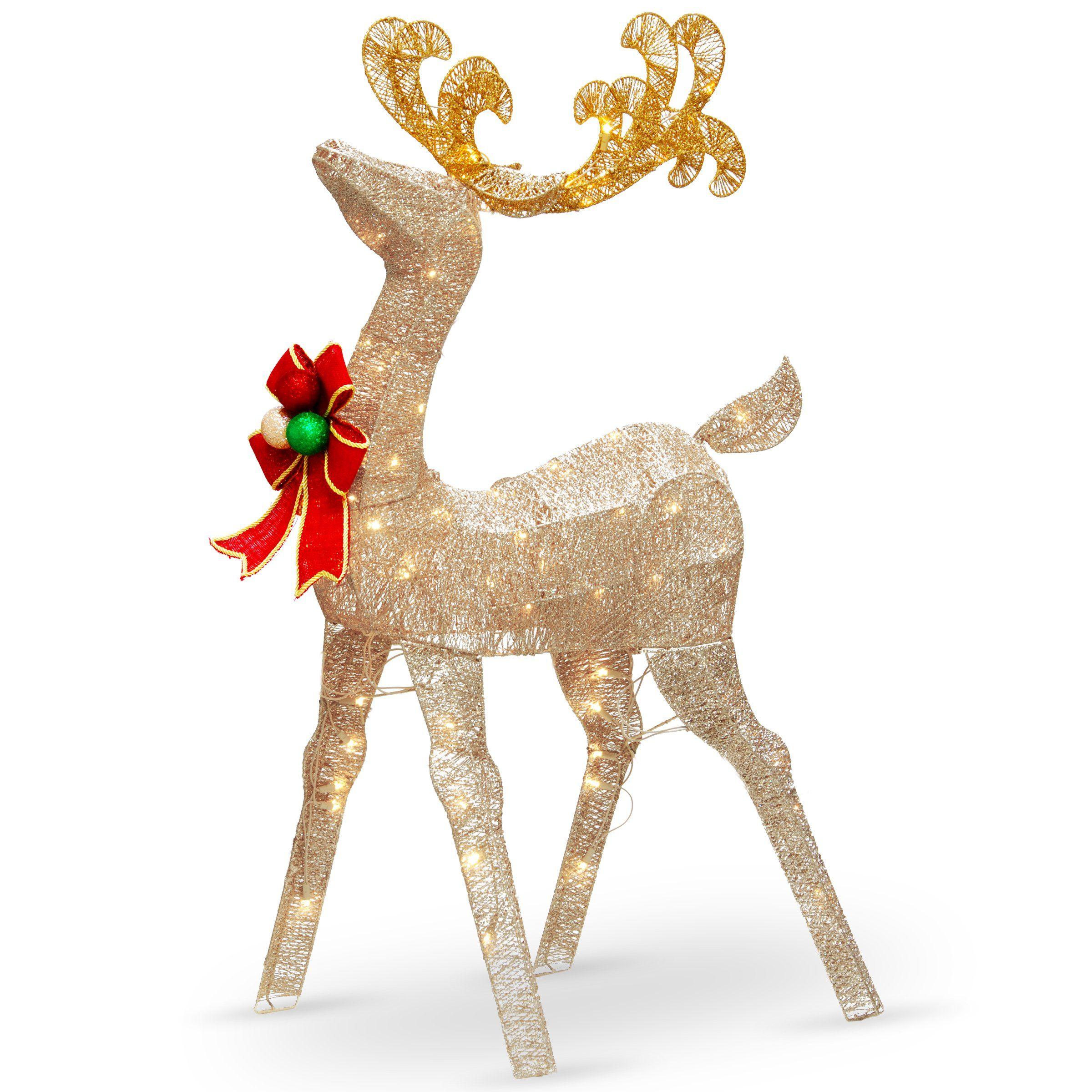 National Tree Df 070020u 48 Crystal Splendor Deer With 70 White Led Lights