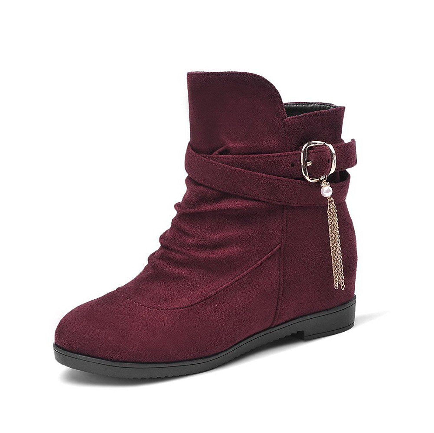 Women's Pull-on Low-Heels Imitated Suede Solid Low-top Boots