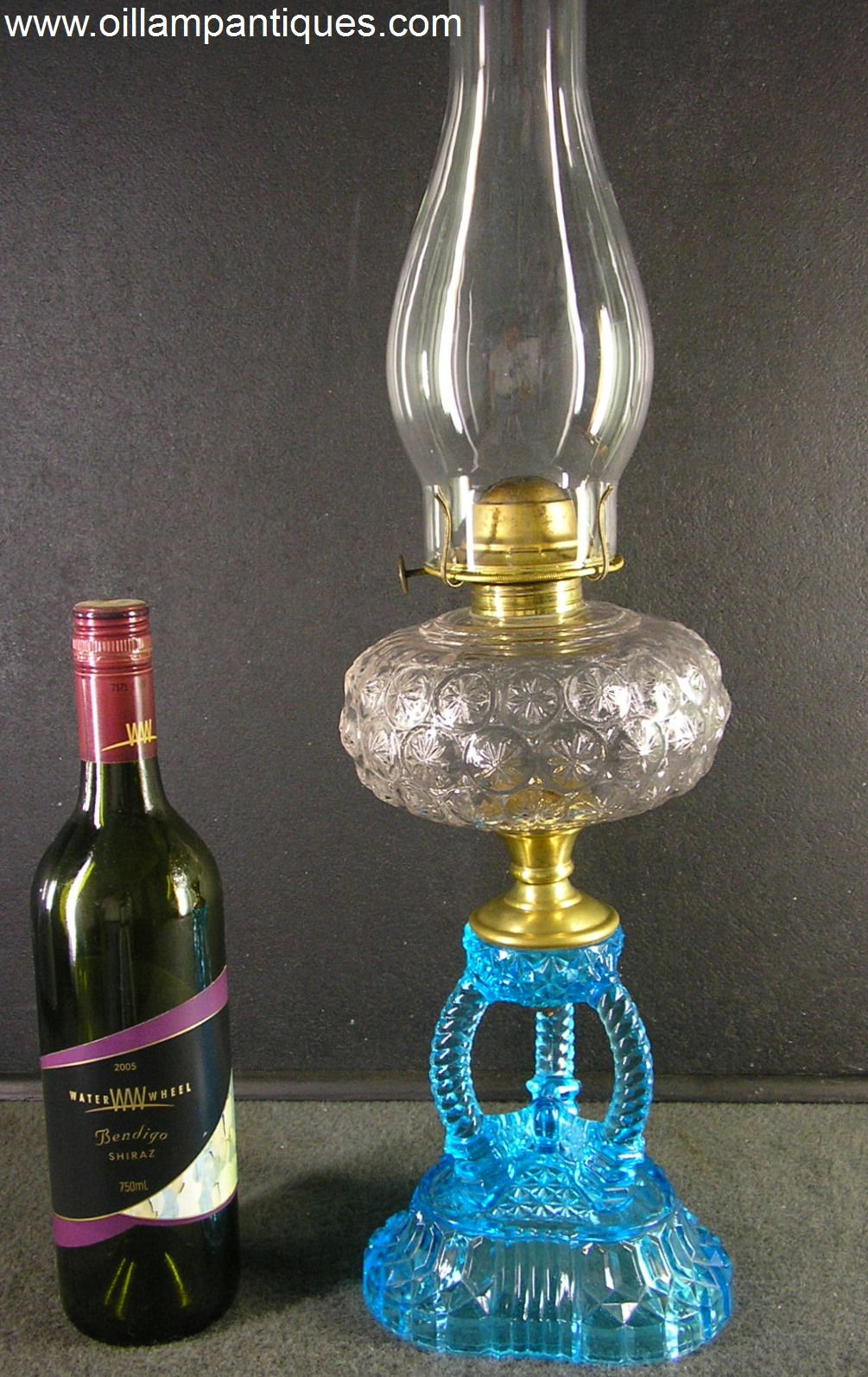 Blue U0026 Clear Cathedral Base Oil Lamp Kerosene Lamp | Oil Lamp Antiques
