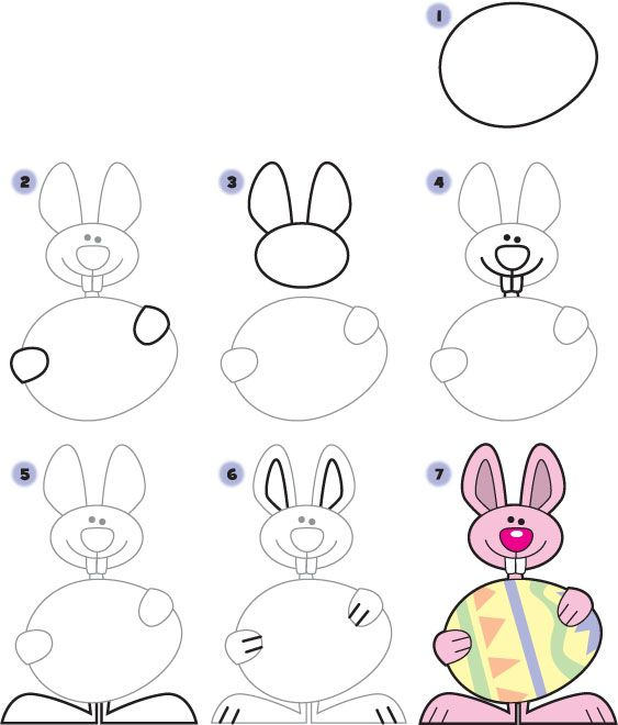 How To Draw An Easter Bunny Easter Drawings, Art Drawings For Kids,  Easter Art
