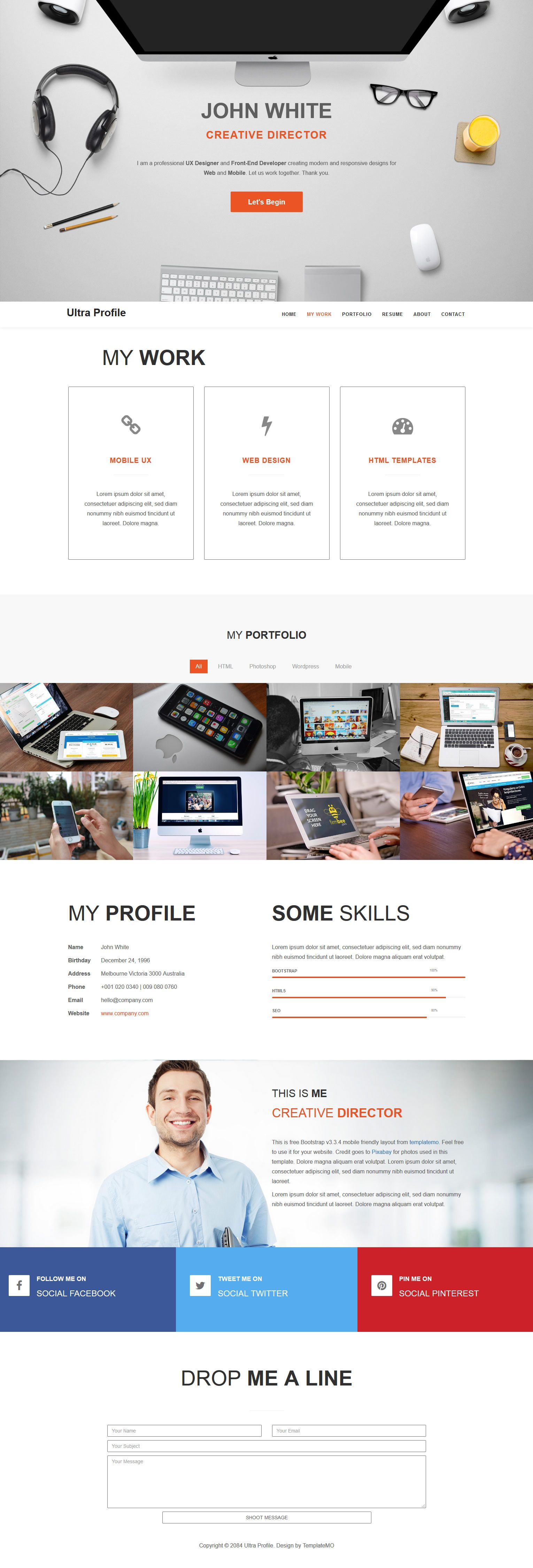 Ultra Profile is Bootstrap v3 3 4 responsive layout for online