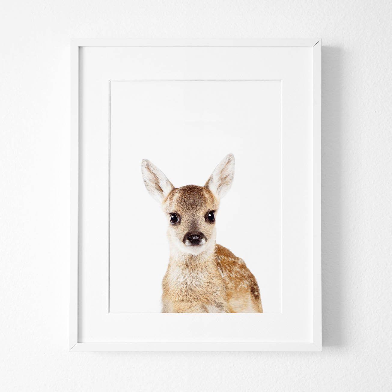 Deer Print, Baby Deer, Woodland Nursery Print,Flower Crown