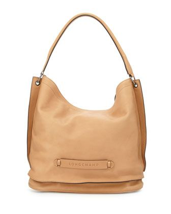 Longchamp+3D+Leather+Hobo+Bag,+Nude+by+Longchamp+at+Neiman+Marcus.