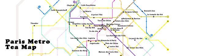 Plan des stations du metro de paris avec les salons de thé