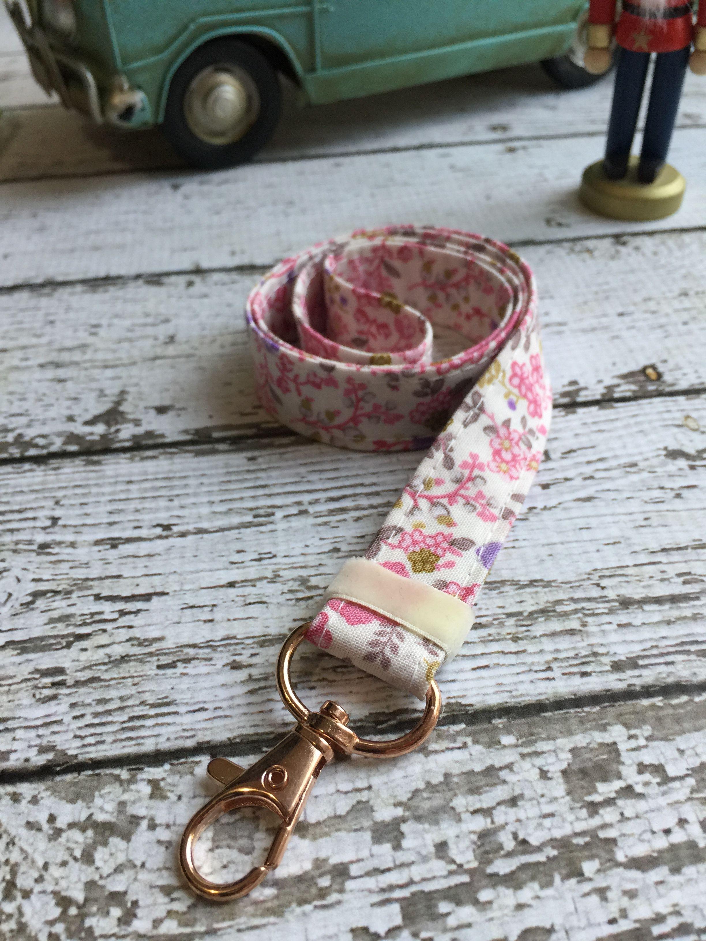pink flower fabric lanyard  id badge lanyard  fabric