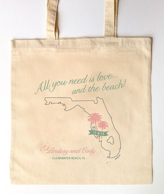 50 Florida Wedding Guest Tote Bags Favor For Guests