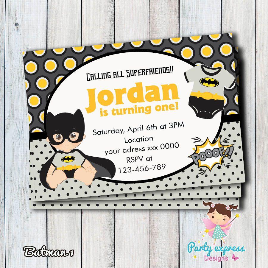 Invitación Batman Baby Niño Superheroe Digital De