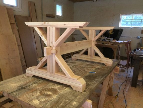 Farmhouse trestle table diy kit by lakeshorehnh on etsy for Farmhouse table plans with x legs