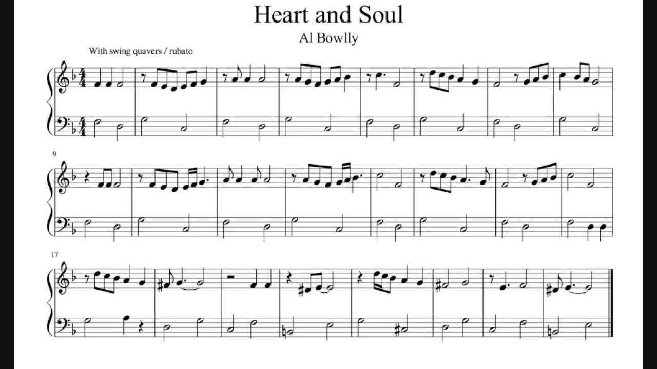 Heart And Soul - Al Bowlly Version - Piano Sheet Music (No Audio) - YouTube