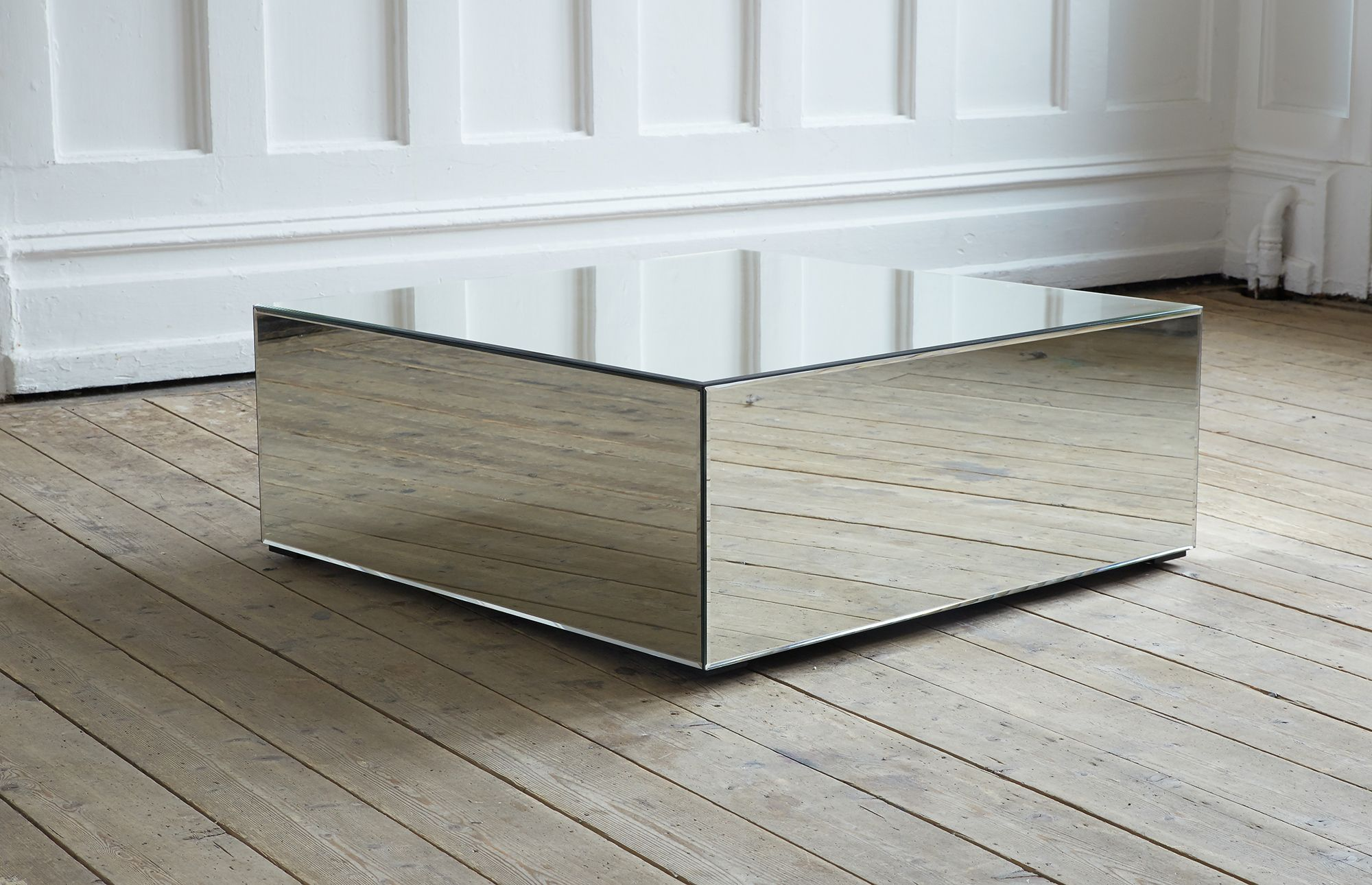 Square Coffee Table Made Entirely Of Mirrored Glass.