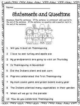 Thanksgiving Statements And Question Thanksgiving Worksheets