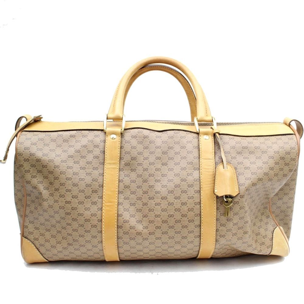 9d44858d3b7 Authentic Gucci Boston Duffle Bag Vintage Men Women Handbag Brown PVC  G12SA192  Gucci  BostonBag