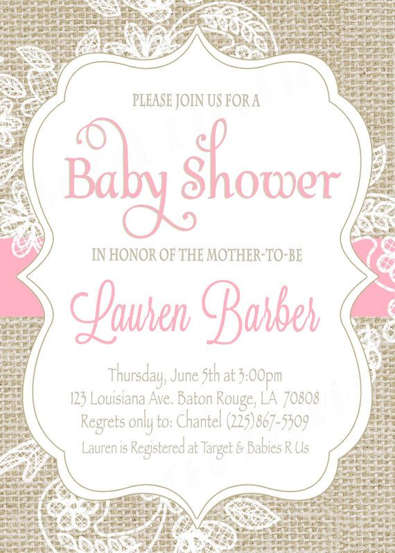 a857c29e114 Burlap and Lace Baby Shower Invitation   Pink by SweetProvidence More