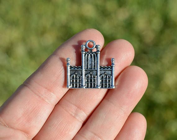 5 silver castle cathedral building charms sc1304