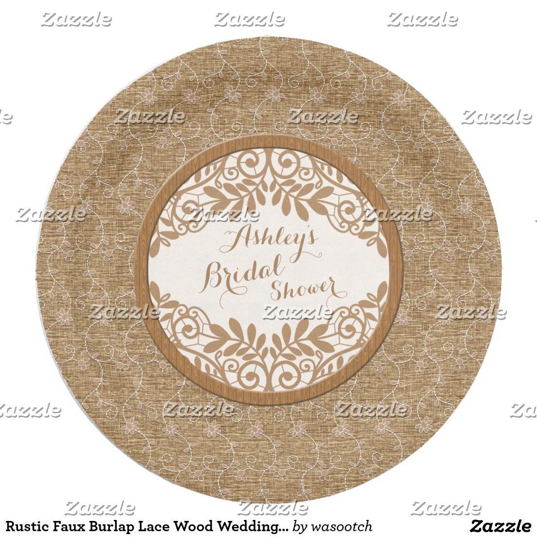 Rustic Faux Burlap Lace Wood Wedding Bridal Shower