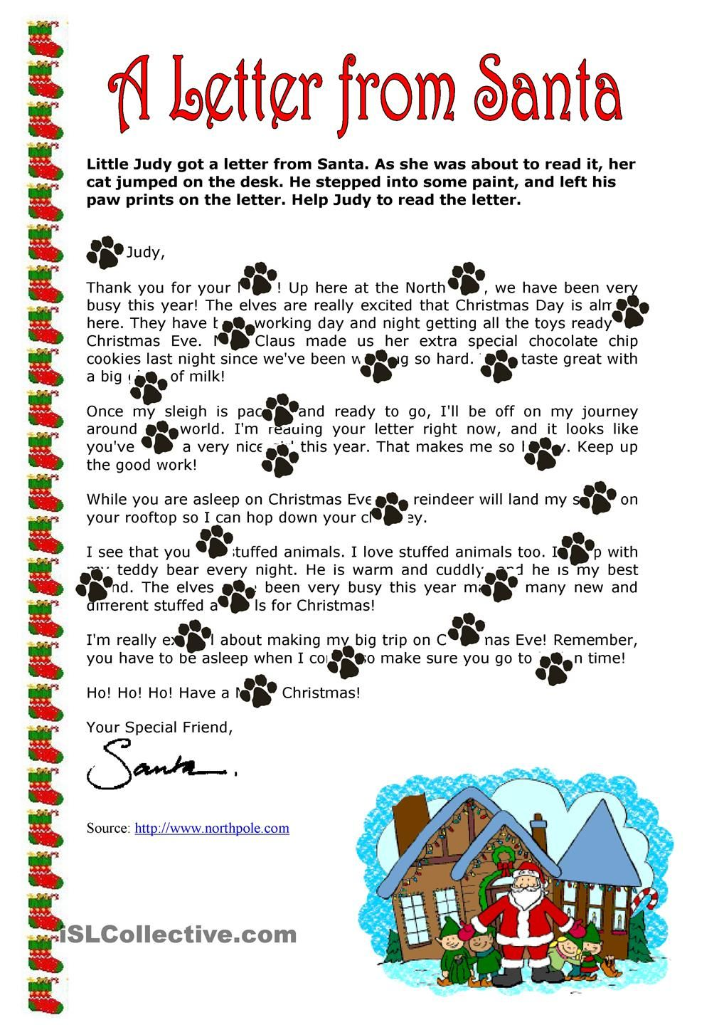A Letter From Santa Claus Santa Letter Christmas Reading Christmas Lesson