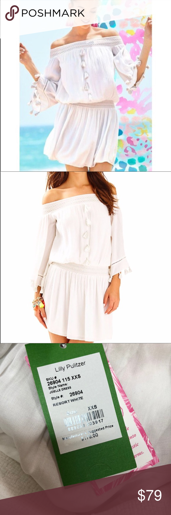 7d78e2bb7f8e65 NWT Lilly Pulitzer Joelle Resort White Dress NWT! Tag says XXS but This  would fit xxs to xs to small Adorable off shoulder Dress with fun Tassel  details!