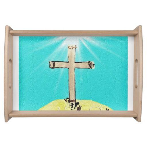 Symbolic Cross Serving Platters