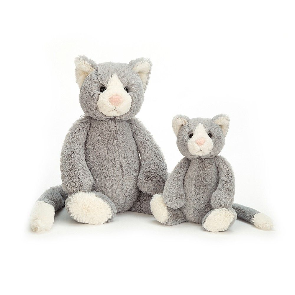 Introducing The Bashful Cat By Jellycat Coming In Two Sizes With A Super Soft Light Grey Coloured Body Cream Inner Ear Cat Soft Toy Jellycat Jellycat Toys