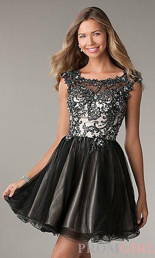 Short Open Back Black Dress at PromGirl.com