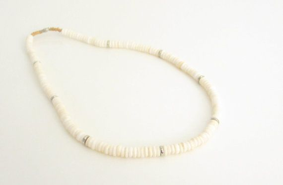 Vintage 1980s  White Shell Beaded   Necklace by SandyLeesAttic, $12.95