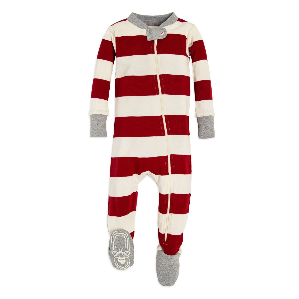 3dd1f3942 Rugby Stripe Organic Baby Holiday Matching Zip Up Footed Pajamas ...