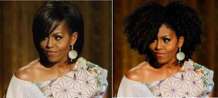 Michelle Obama Goes Curly Curly Nikki Natural Hair Styles And Natural Ha Natural Hair Styles Natural African American Hairstyles Girls Natural Hairstyles
